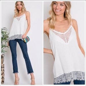 Tops - BOHO WHITE LACE EYE LASHES STYLE top - Cami